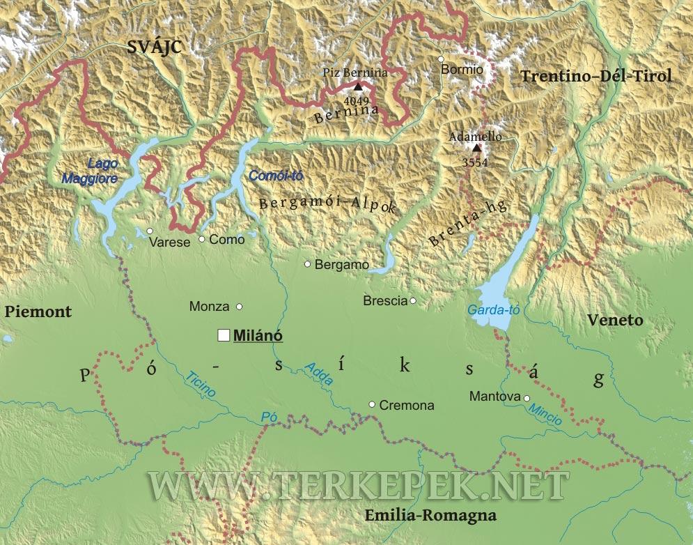 alpok domborzati térkép Lombardia domborzati térképe alpok domborzati térkép