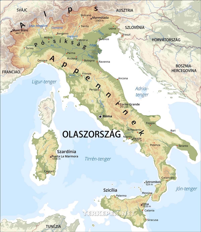 térkép olaszország Olaszország térképek térkép olaszország