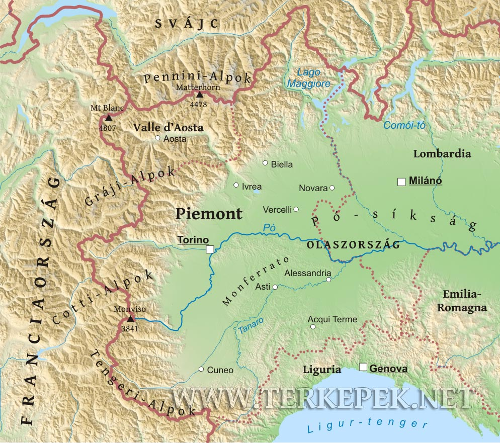 alpok domborzati térkép Piemont domborzati térképe alpok domborzati térkép