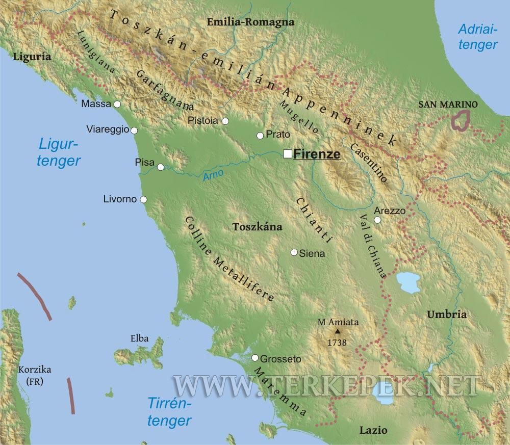 olaszország domborzati térkép Toszkána domborzati térképe olaszország domborzati térkép